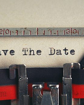 Save The Date text typed with a typewriter